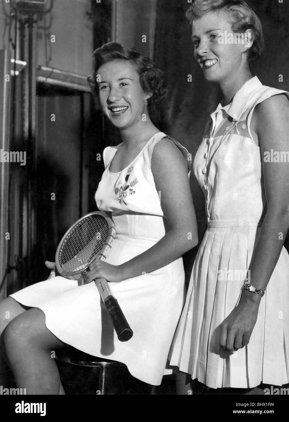 the left Maureen Connolly wears a tennis outfit made of Italian