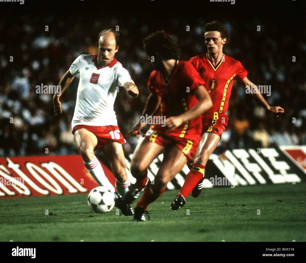 World Cup 1982 Group A Poland 3 Belgium 0 Grzegorz Lato of Poland