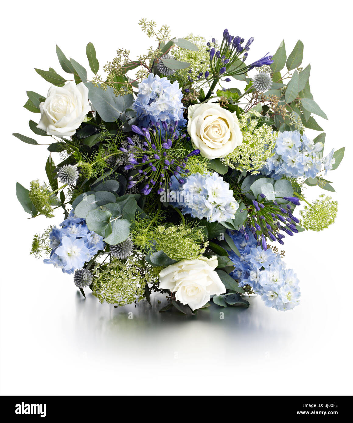 White Rose Forget Me Not Eucalyptus Bouquet Stock Photo