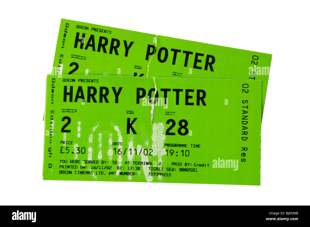 a pair of cinema tickets to see harry potter stock photo