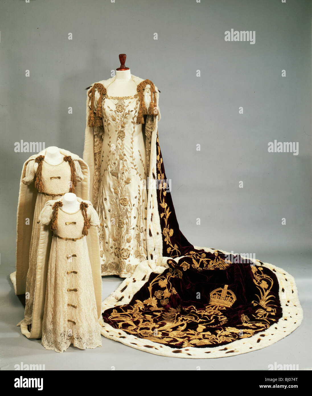 Coronation dresses and robes worn by the Queen Mother and Princesses  Elizabeth and Margaret, 1937.