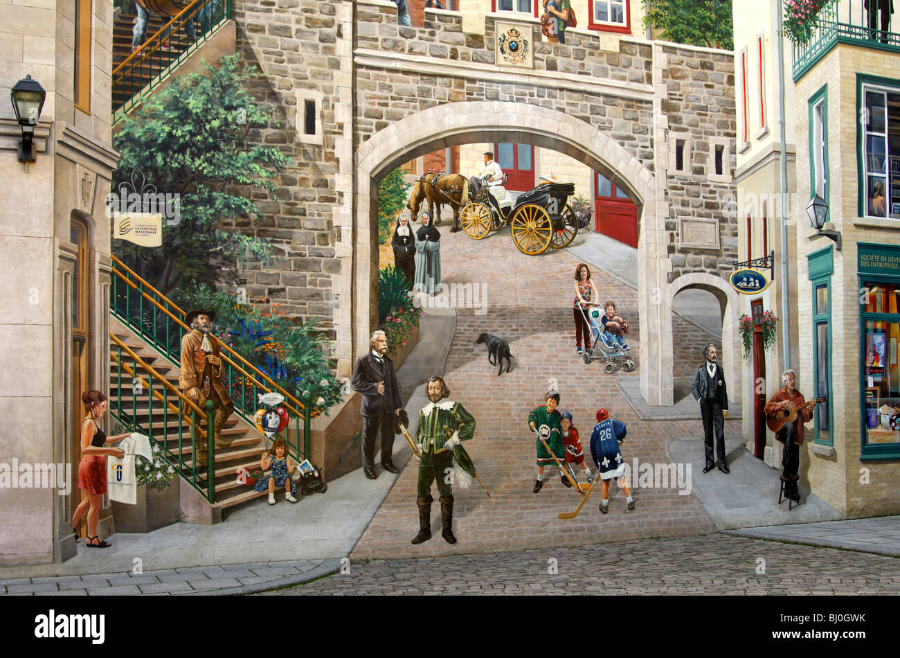 Detail of the mural painting the citizens of quebec for Mural quebec city