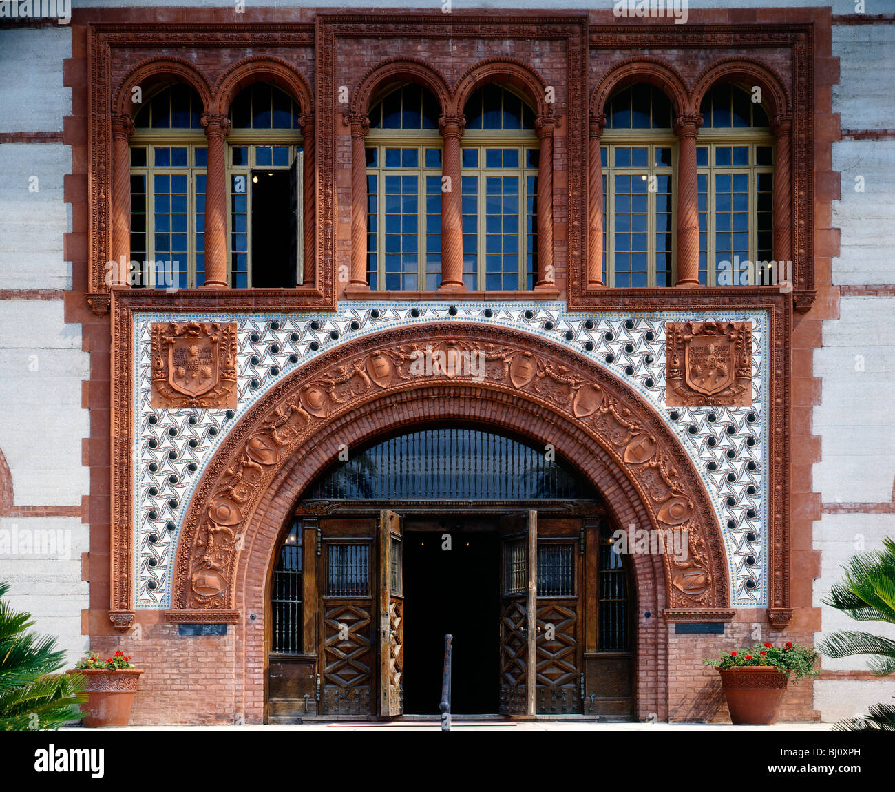Detail Of Building At Flagler College, 1888 Spanish Renaissance Style  Architecture, St. Augustine, Florida, USA