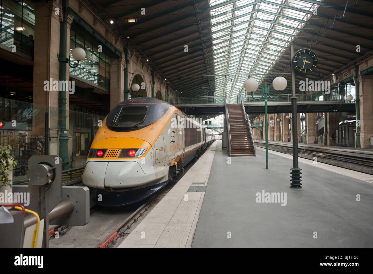 paris france eurostar train tgv bullet train in gare du nord stock photo royalty free image. Black Bedroom Furniture Sets. Home Design Ideas