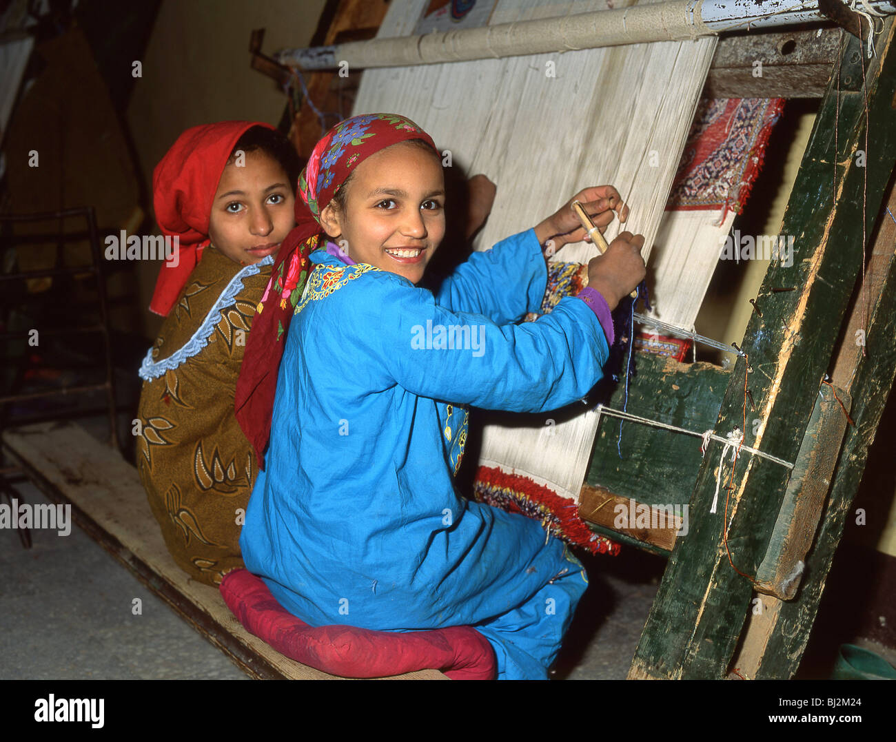 Young Girls Working In Carpet Factory Cairo Republic Of