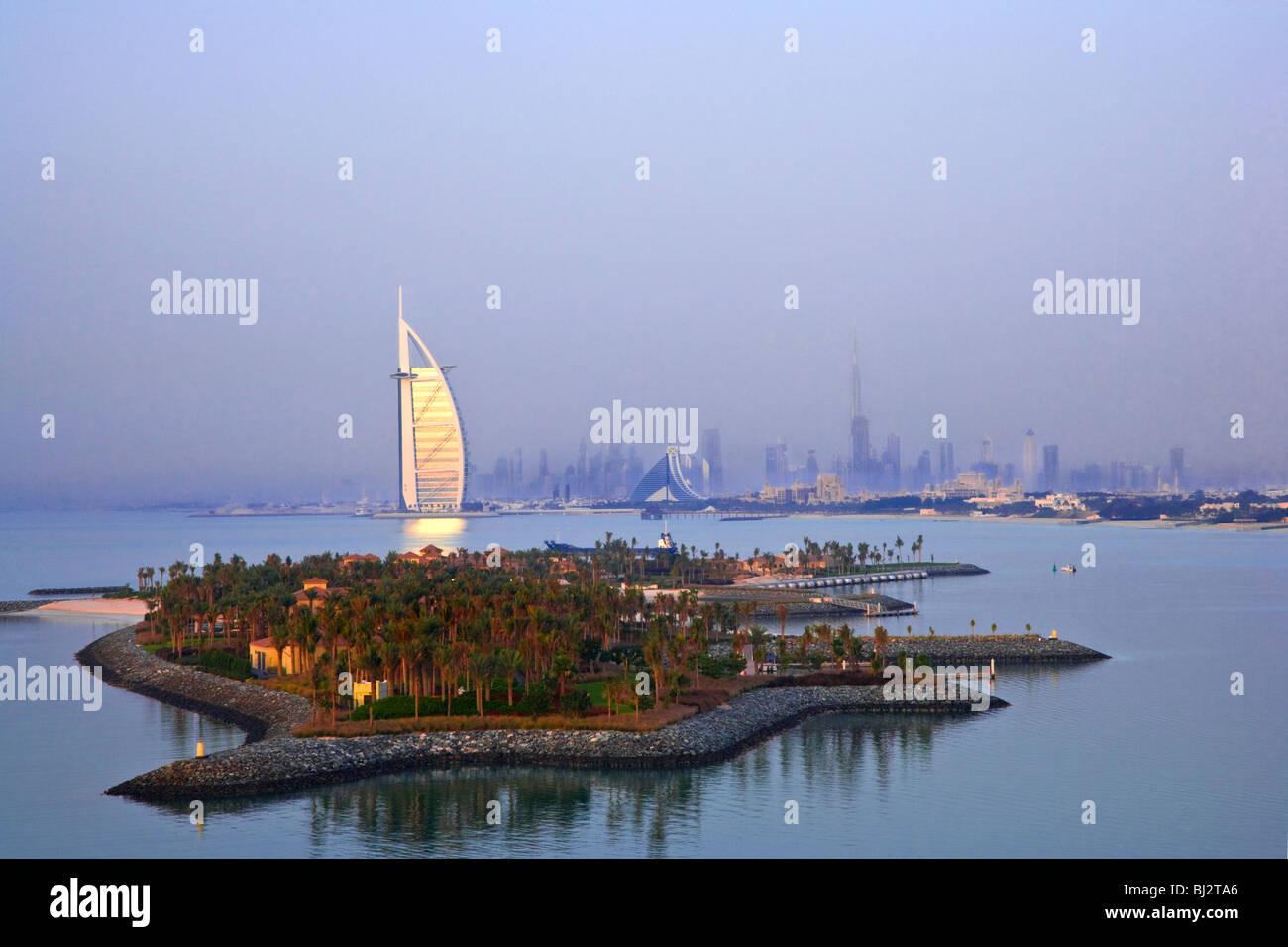 Evening Light On Burj Al Arab Hotel And Jumeirah Beach Khalifa Dubai