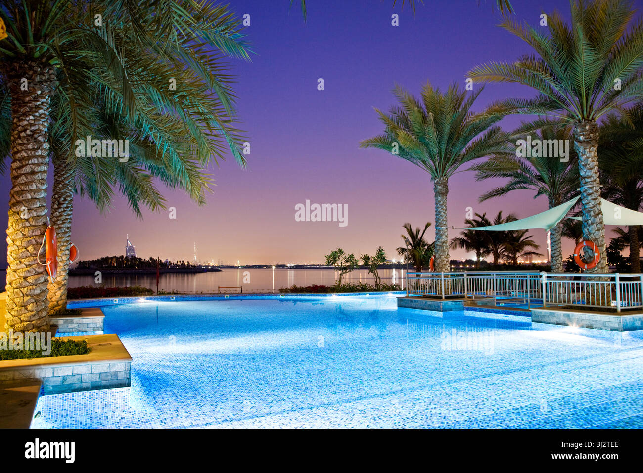 Swimming Pool Of A Beach Club On Palm Island Jumeirah In Dubai With Stock Photo Royalty Free