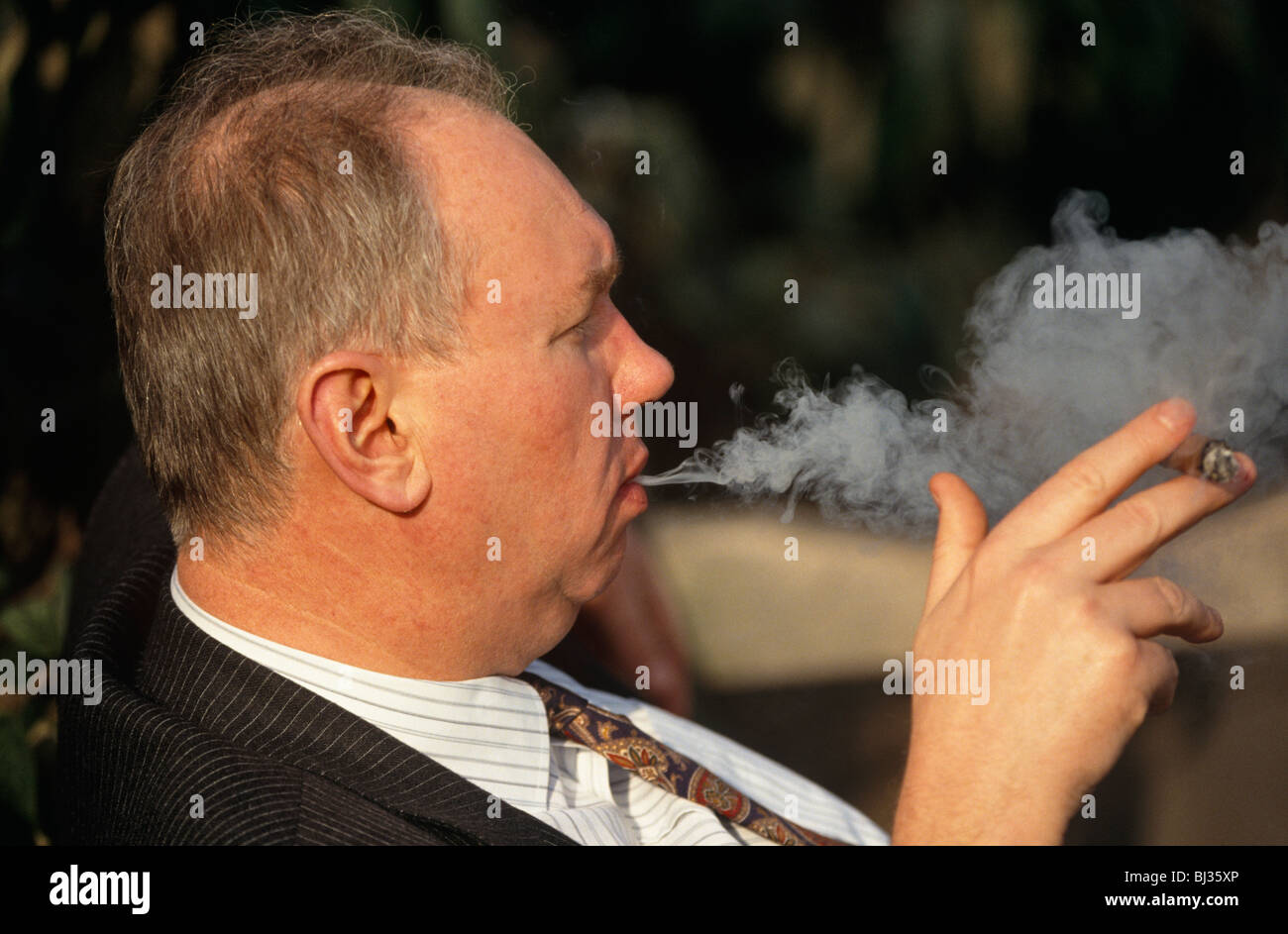 a gentleman dressed in a pin stripe suit favoured by older workers a gentleman dressed in a pin stripe suit favoured by older workers in england exhales the smoke from a fat cigar