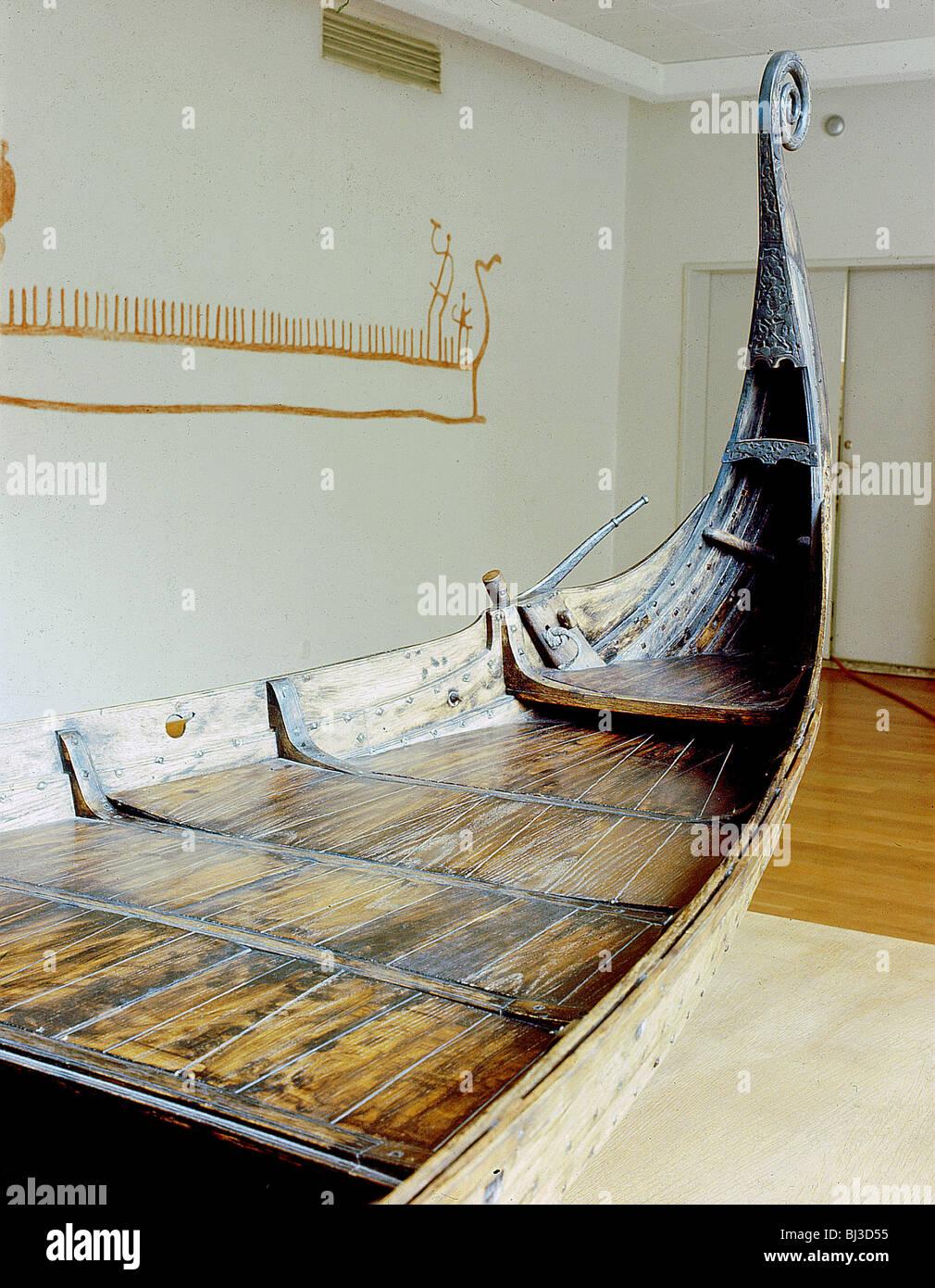 model of the oseberg ship viking norway artist werner forman