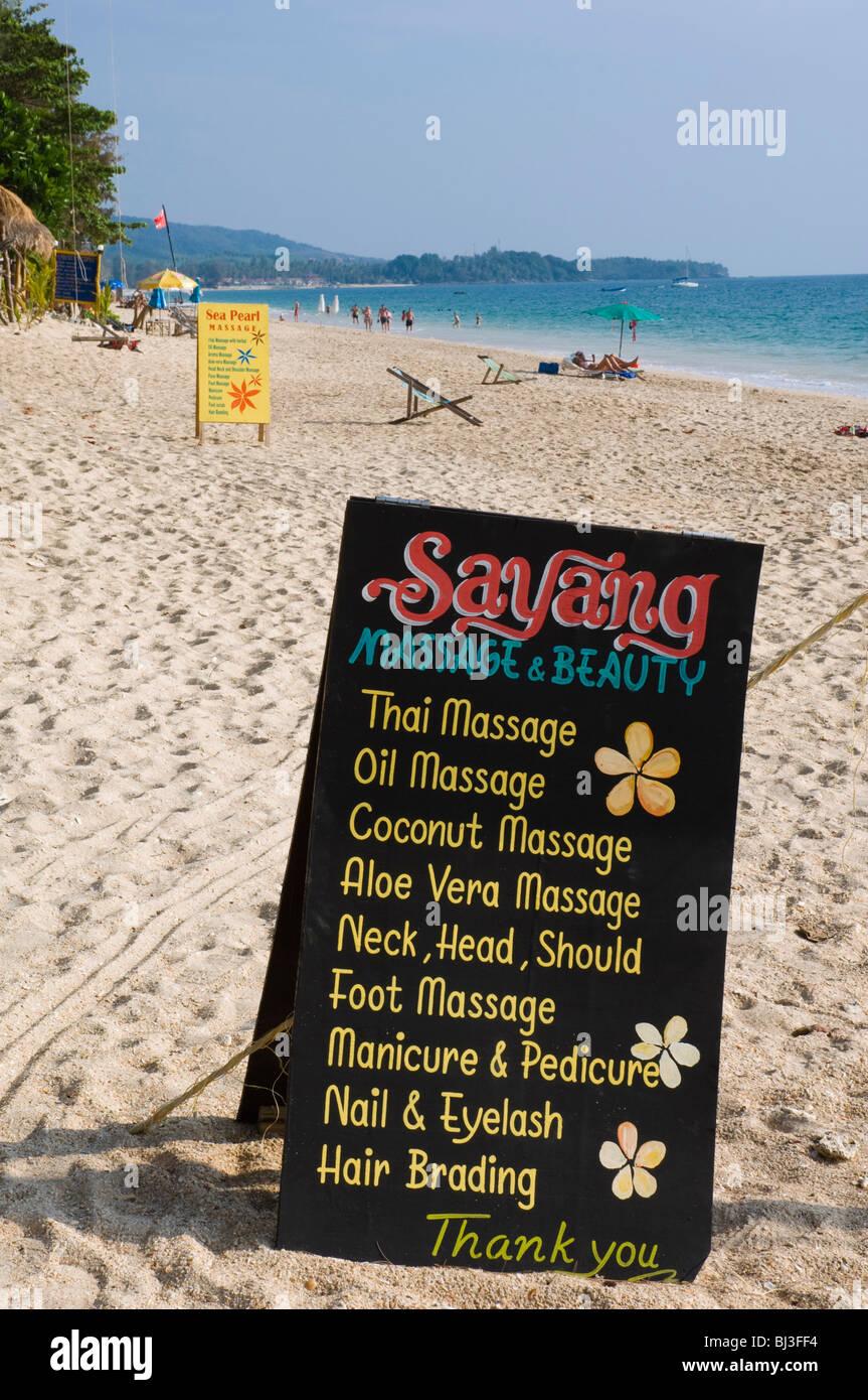 Massage Sign At The Beach Long Beach Phra Ae Beach Island Of Ko Lanta Koh Lanta Krabi Thailand Asia