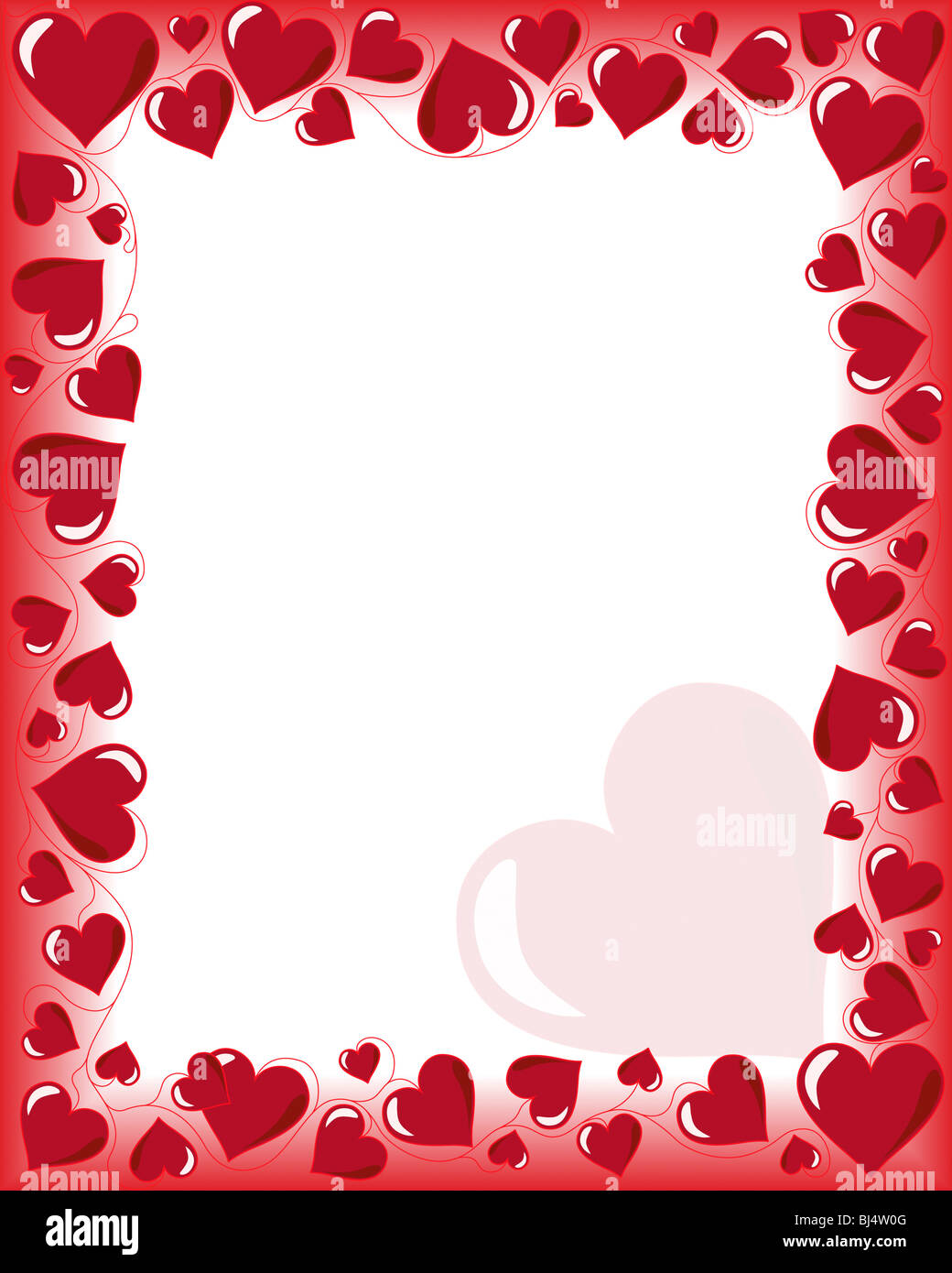 stock photo valentines day background frame with heart shaped ornament vector illustration with white copyspace
