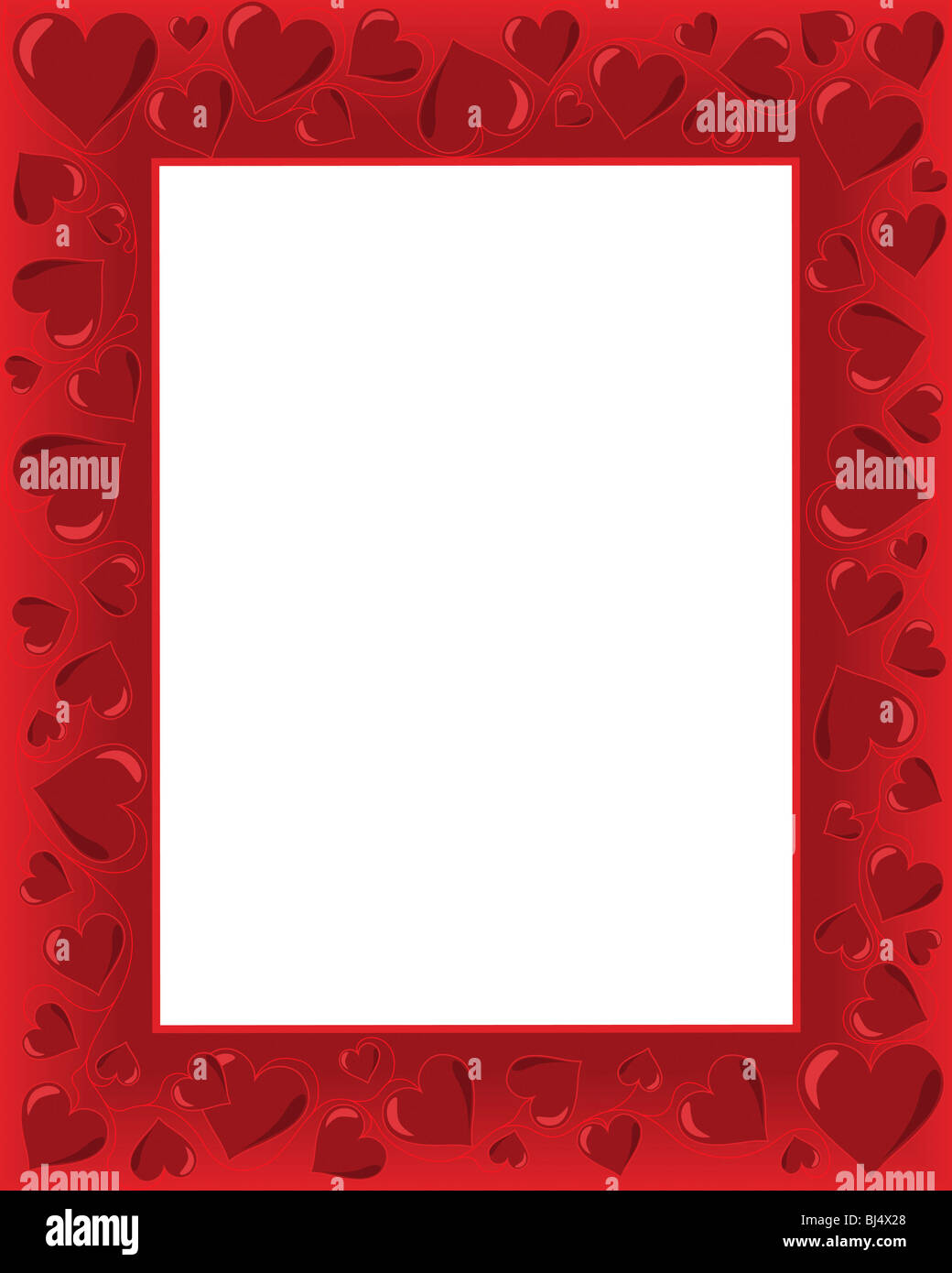 Valentines Day Background Frame With Heart Shaped Ornament. Vector  Illustration With White Copyspace