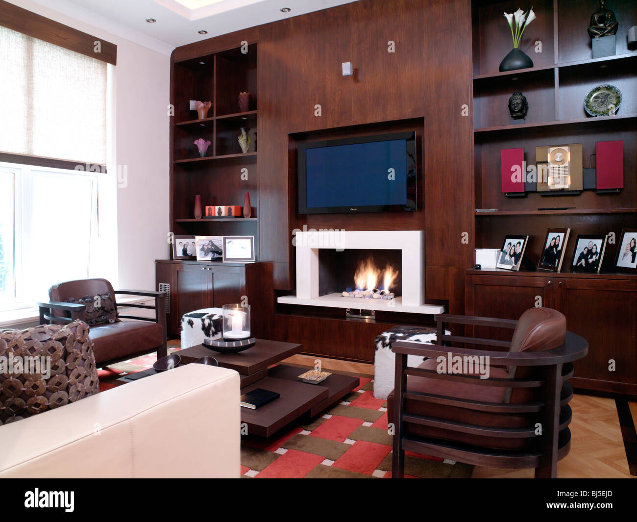 Sitting living room wood panelling shelves hi fi system for Bj custom designs