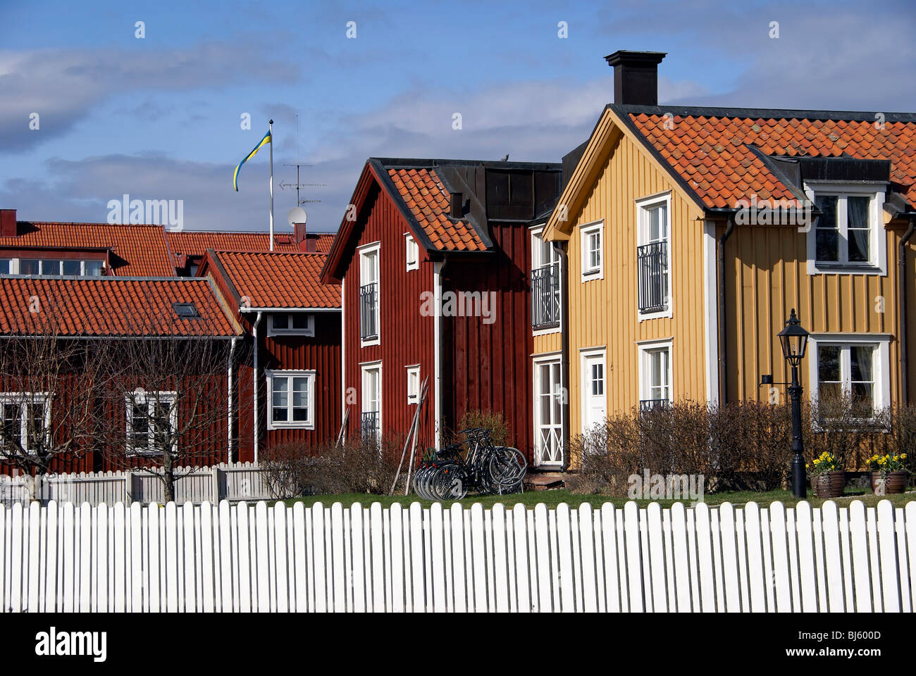 Traditional Red And Yellow Swedish Houses In Mariefred Sweden - Traditional swedish homes