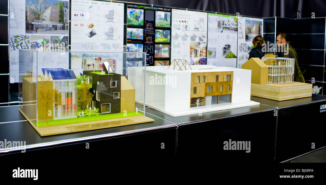 Paris France Construction Trade SHow Exhibit Ecological Green Buildings Modern Architecture Models On Display