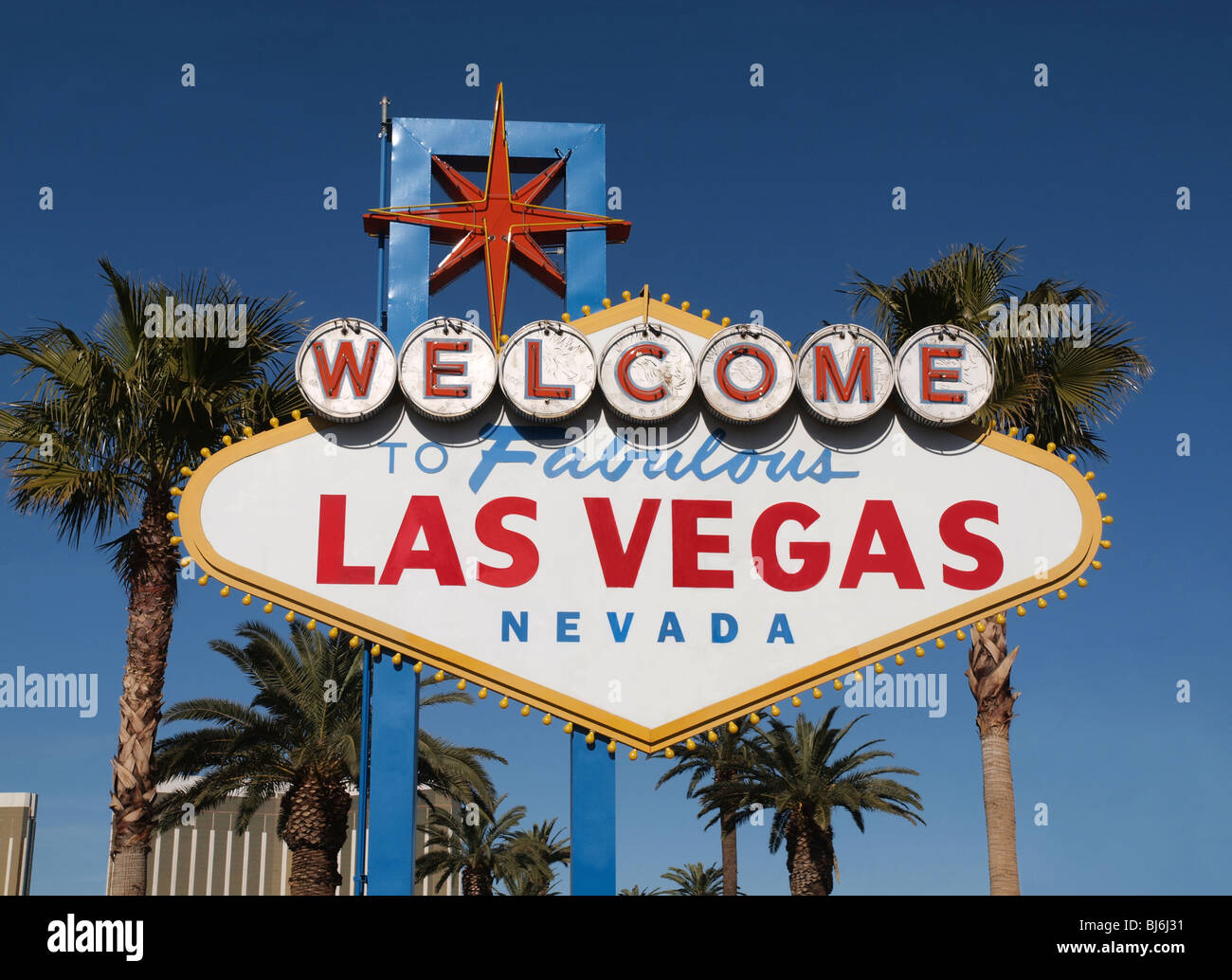 Stock footage welcome to fabulous las vegas sign with flashing lights - Fabulous Las Vegas Nevada Welcome Sign With Palm Trees Stock Image