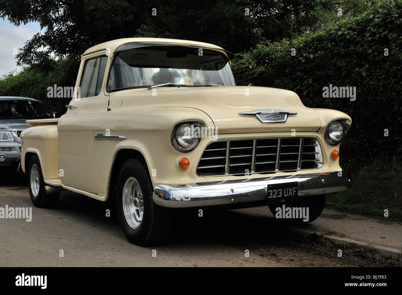1955 chevy 3100 stepside pickup truck stock photo
