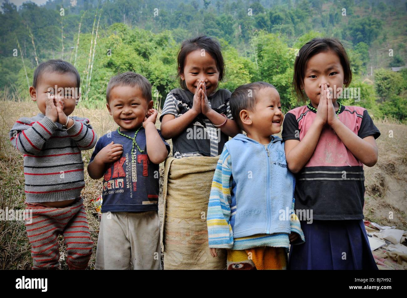 Nepali children in Chyawabesi, Nepal Stock Photo, Royalty ...