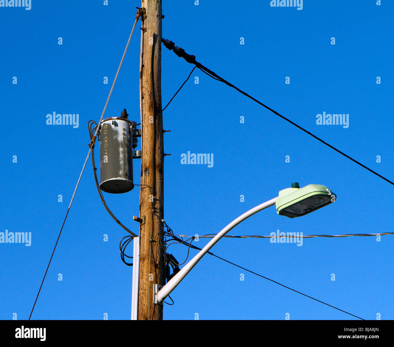 Stock Photo - Utility pole with street l& wires and transformer : pole transformer wiring - yogabreezes.com