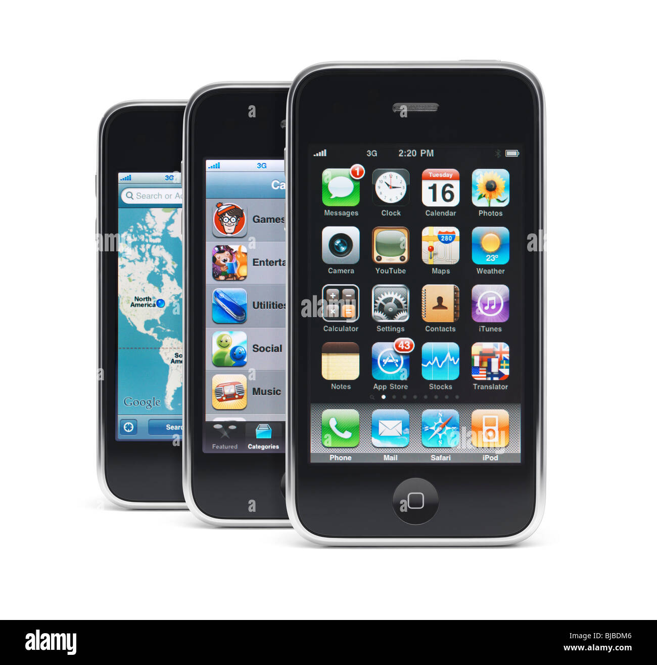 Three Apple IPhone 3Gs 3G Smartphones Displaying Different App Menus On Their Screens Isolated White Background