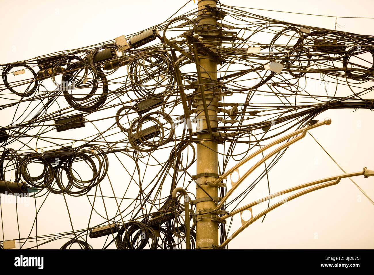 A Tangle Of Cables And Wires In Shanghai China Asia