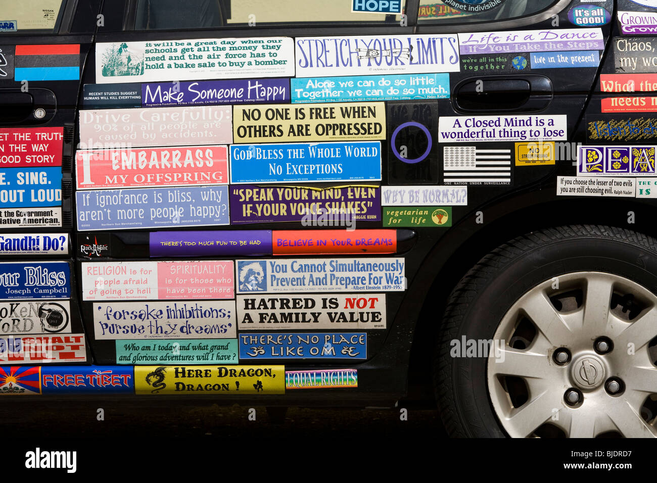 Car stickers advertising - A Car Covered With Bumper Stickers Inglewood Los Angeles County California United