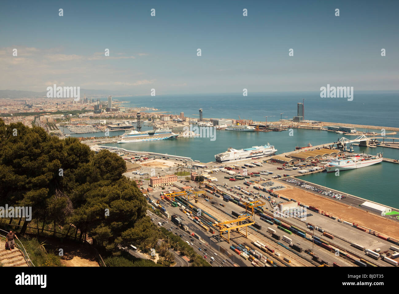 Sea View From Castell De Montjuic Old Military Fortress On Montjuic  Mountain Barcelona Looking To Docks