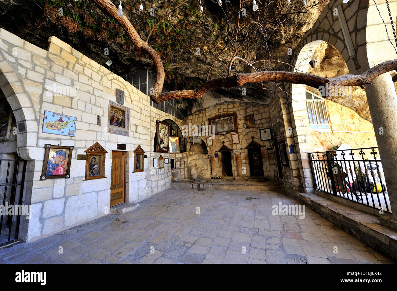 Taqla or St Thecla convent and cave in the village of Maloula, or ...