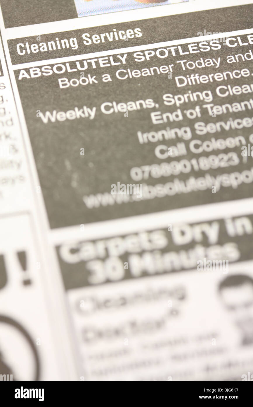 newspaper small ad for cleaning services stock photo royalty stock photo newspaper small ad for cleaning services
