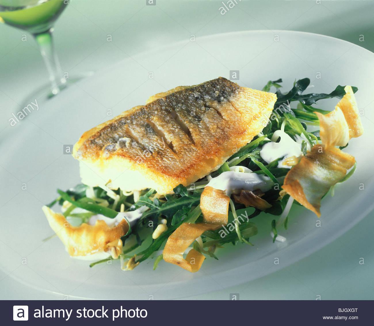 Fried Pike Perch With Jerusalem Artichoke Crisps Rocket Salad