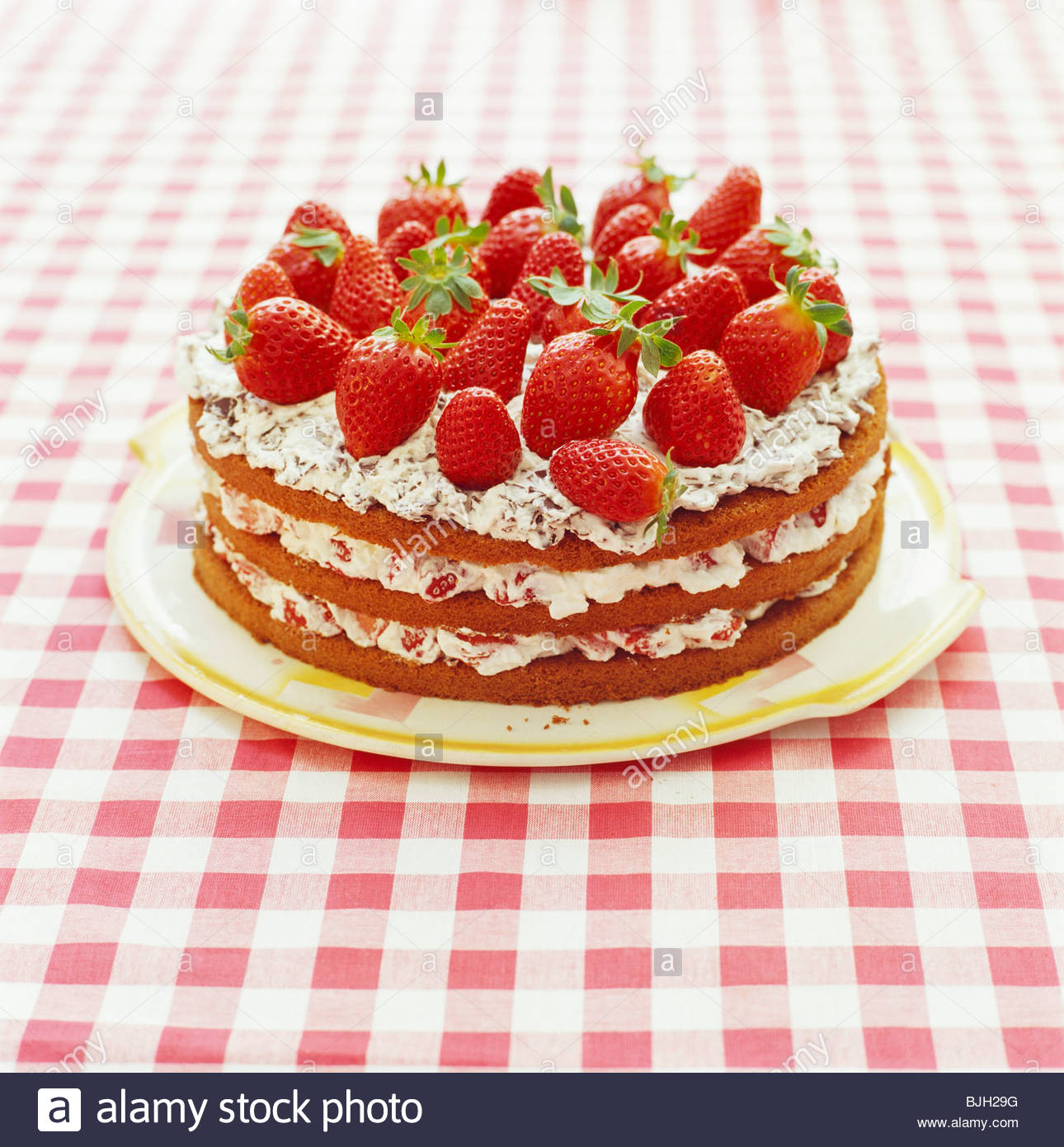 Stock Photo Strawberry Gateau With Chocolate Sponge And Fresh Strawberries