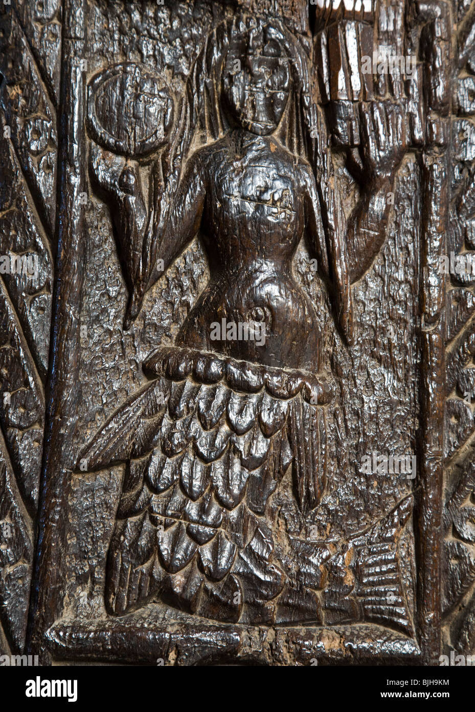 The Mysterious Mermaid Of Zennor Carving In The Church Of