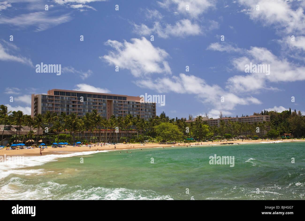 Marriott hotel and kalapaki beach on nawiliwili bay lihue kauai hawaii