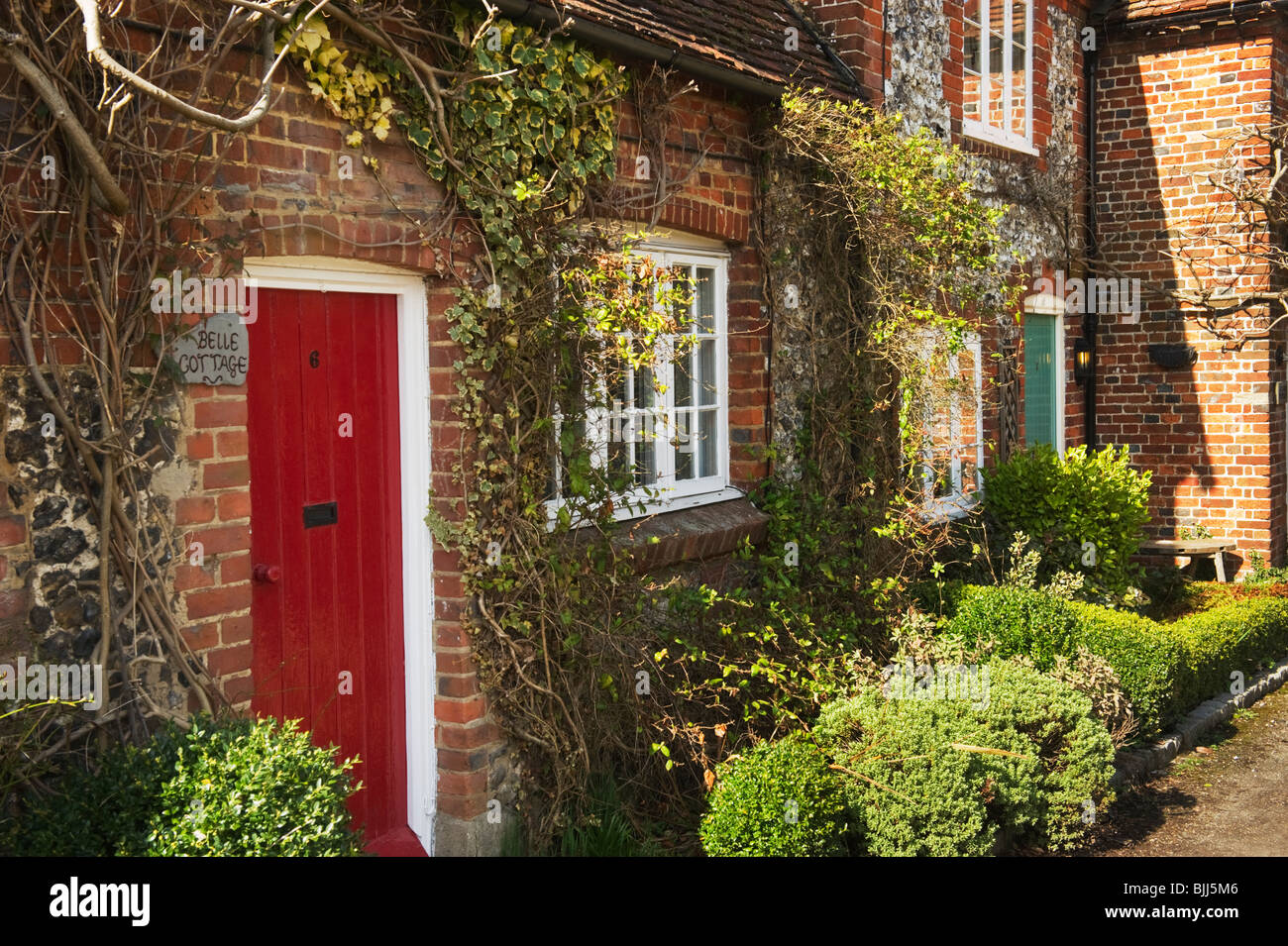 Red Front Door Red Front Door Terraced Stock Photos & Red Front Door Terraced