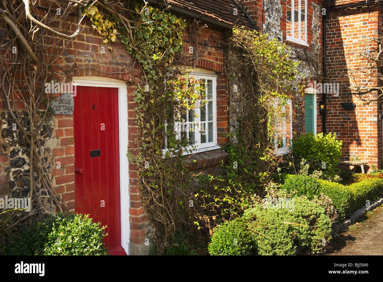 Red Front Door Red Front Door Terraced Stock Photos & Red Front Door Terraced
