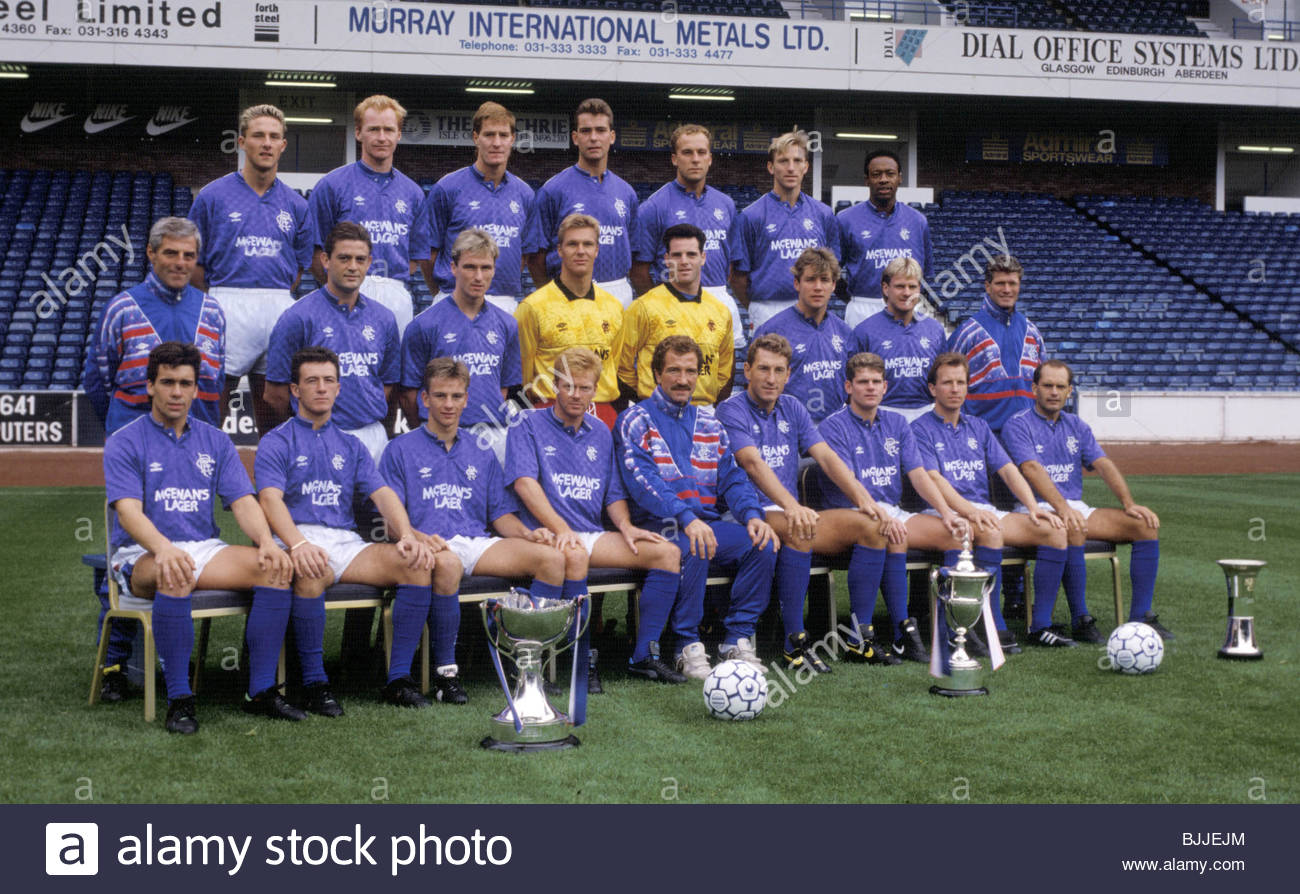 Season 1989 1990 Rangers Rangers Team Picture Stock Photo