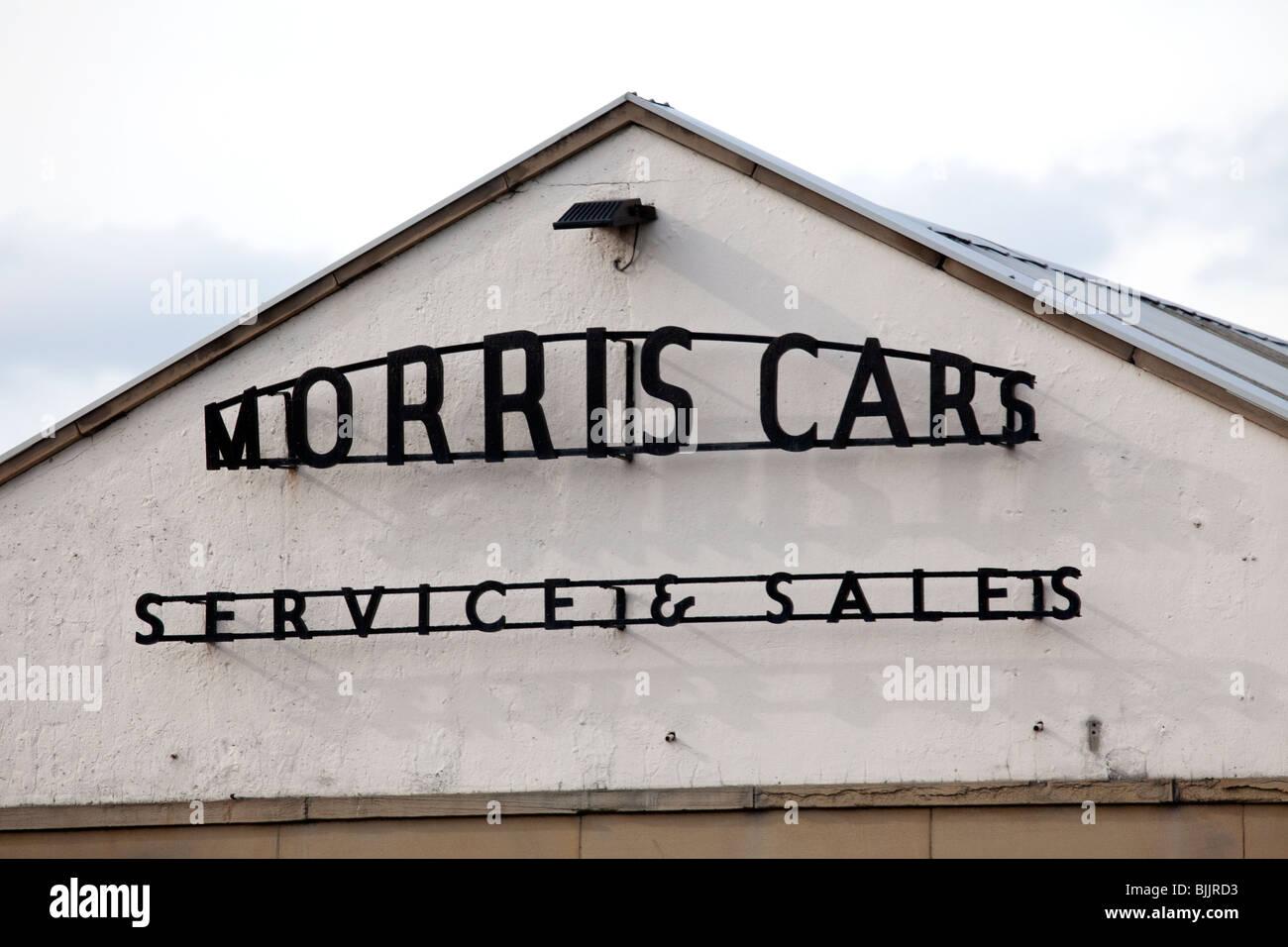 Old Garage Signs : Old garage sign depicting morris cars service and sales