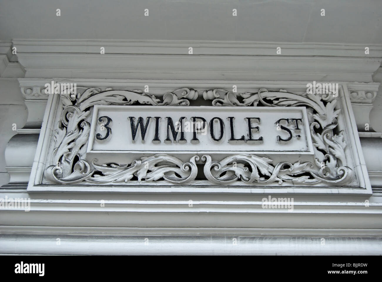 Stock Photo   Decorative House Number Sign For 3 Wimpole Street, London,  England