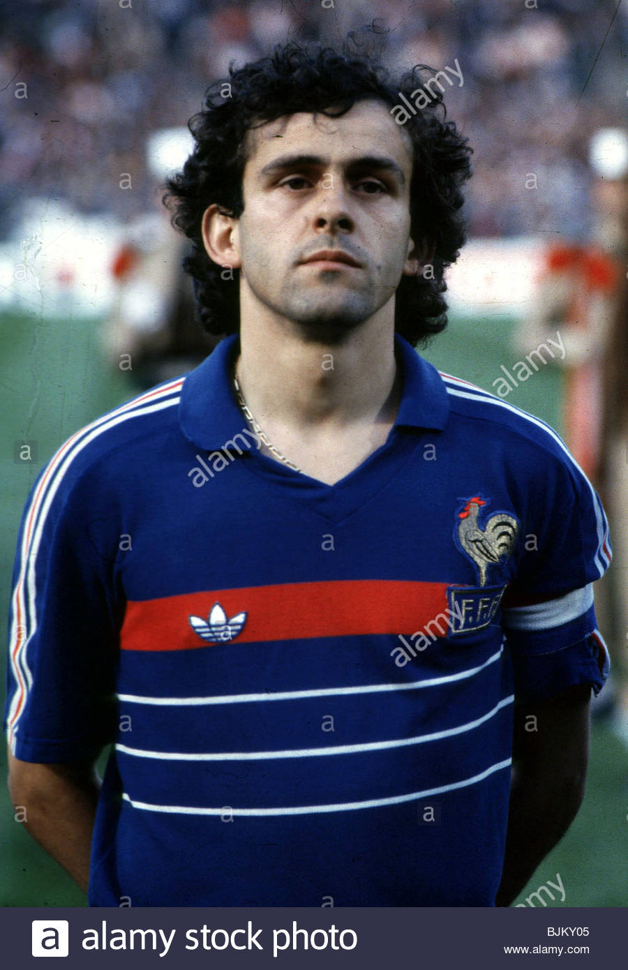SEASON 1984 1985 FRANCE Michel Platini lines up before the match