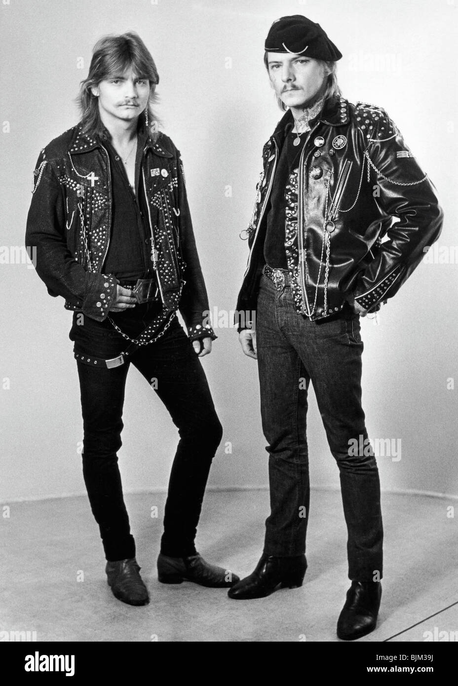 Leather jacket europe - Stock Photo Young People With Leather Jackets And Tattoos East Germany Europe Circa 1984