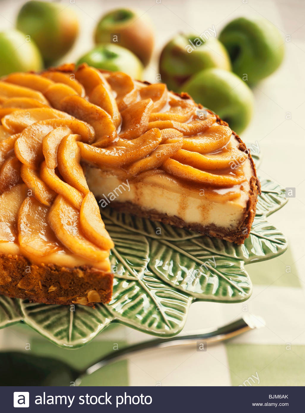 An Apple Almond Cheesecake, Slice Removed Stock Photo ...