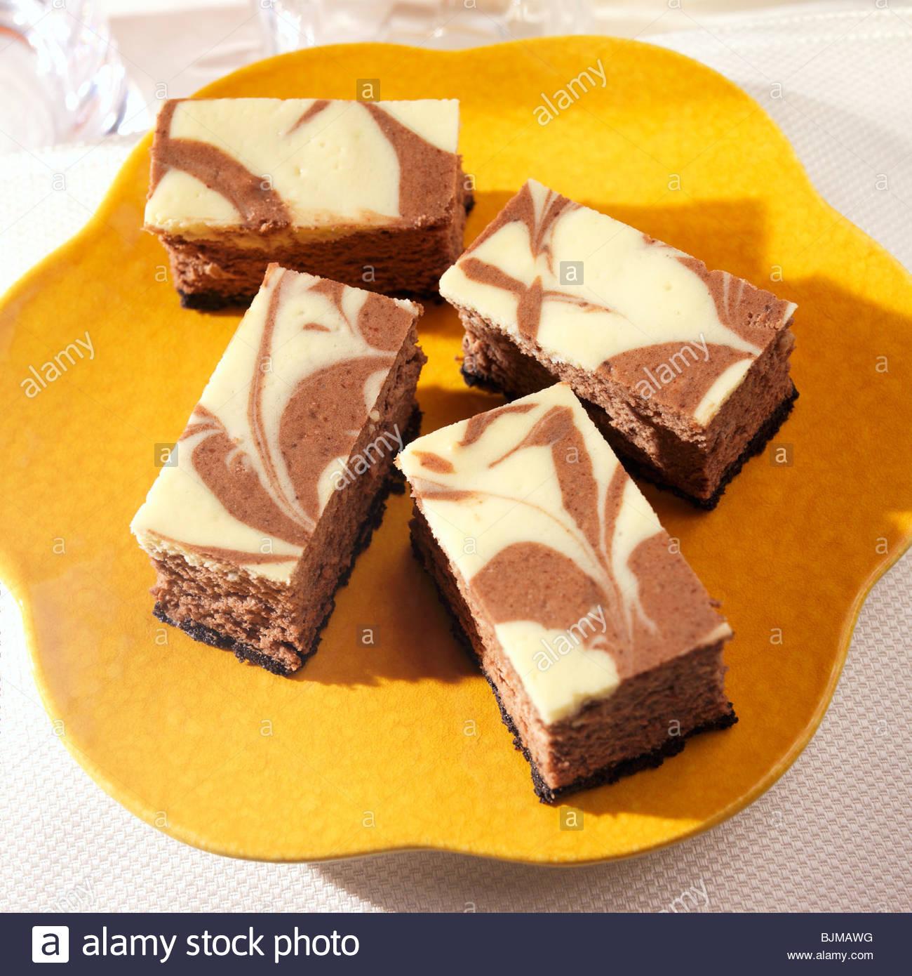 Chocolate Vanilla Swirl Cheesecake Bars Stock Photo, Royalty Free ...
