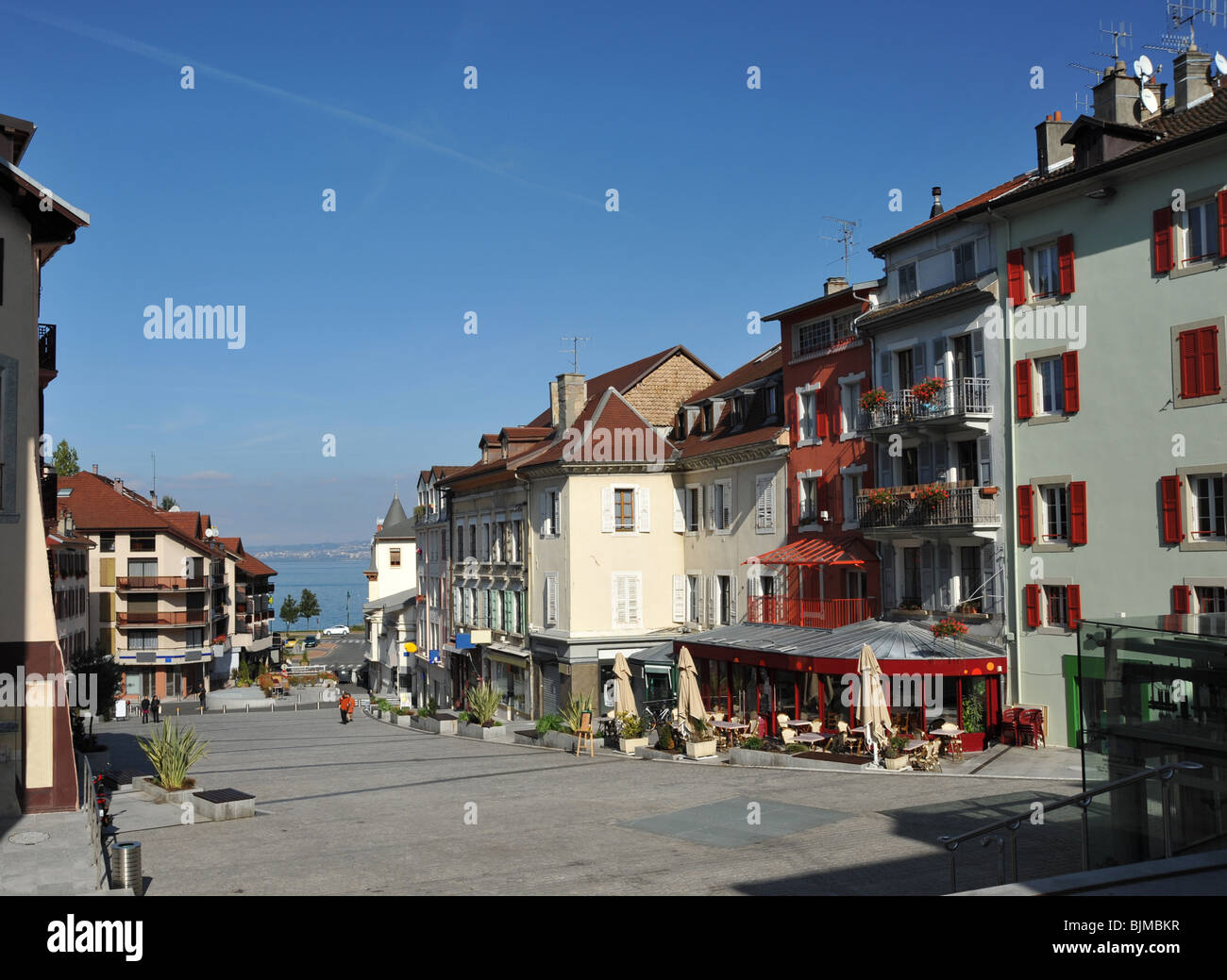 the lakeside town of evian les bains that is situated beside lake stock photo royalty free. Black Bedroom Furniture Sets. Home Design Ideas