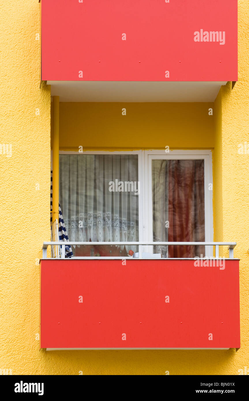 Berlin Germany Modern Apartment Building With Red Balconies Stock