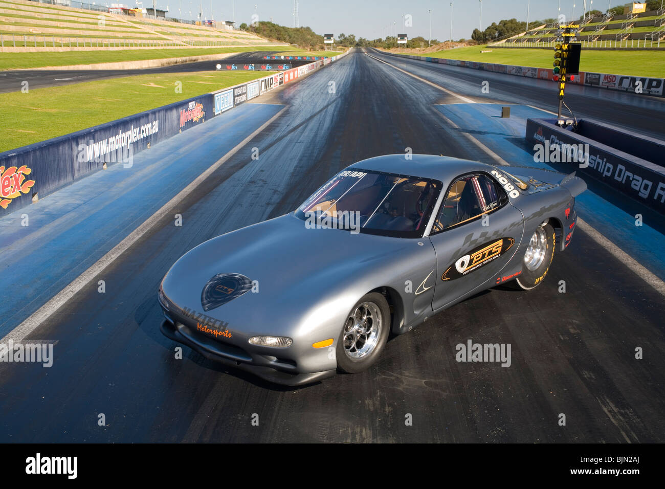 Mazda Series VI RX Drag Racing Car Sitting Posed On The Start - Mazda racing series