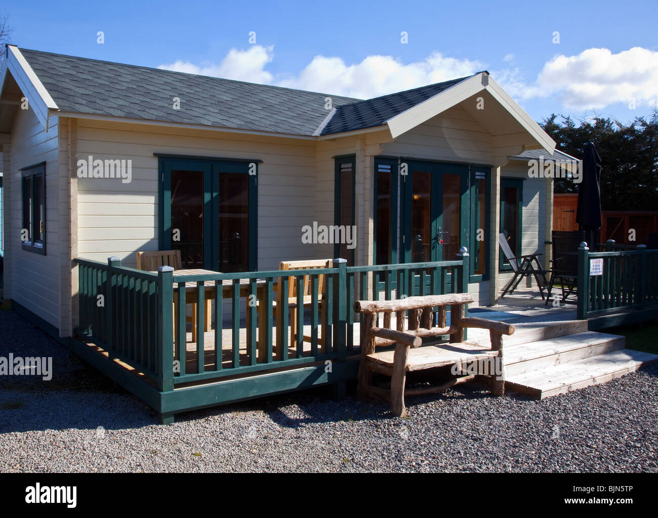 Wooden Garden Shed Outbuilding Chalet Summerhouse Or Cabin At Retail Unit  Royal Deeside Scotland Uk