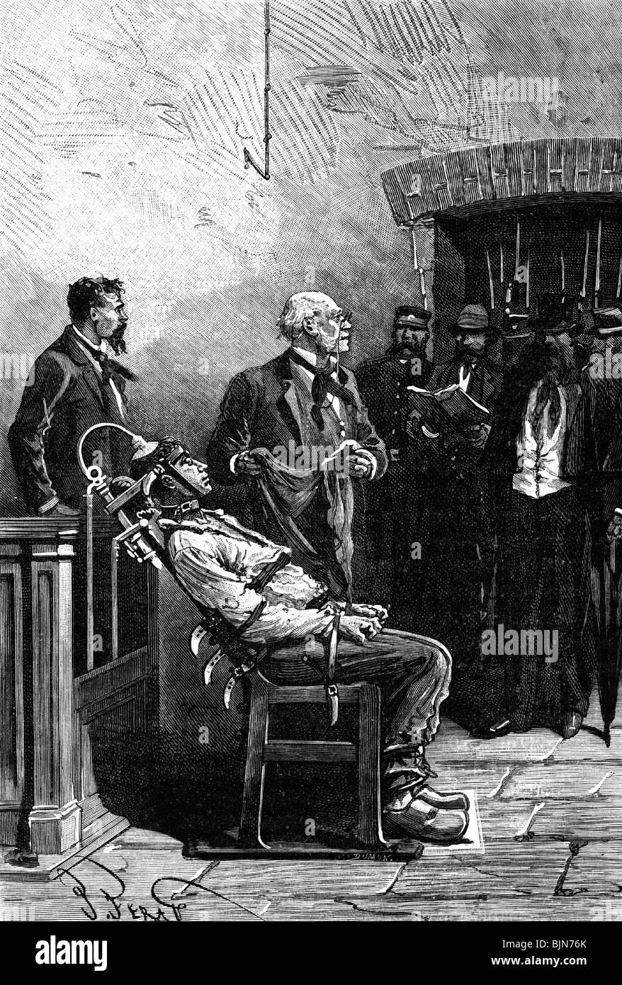 First electric chair victim - Justice Penitentiary System Electric Chair Execution France Wood Engraving Late
