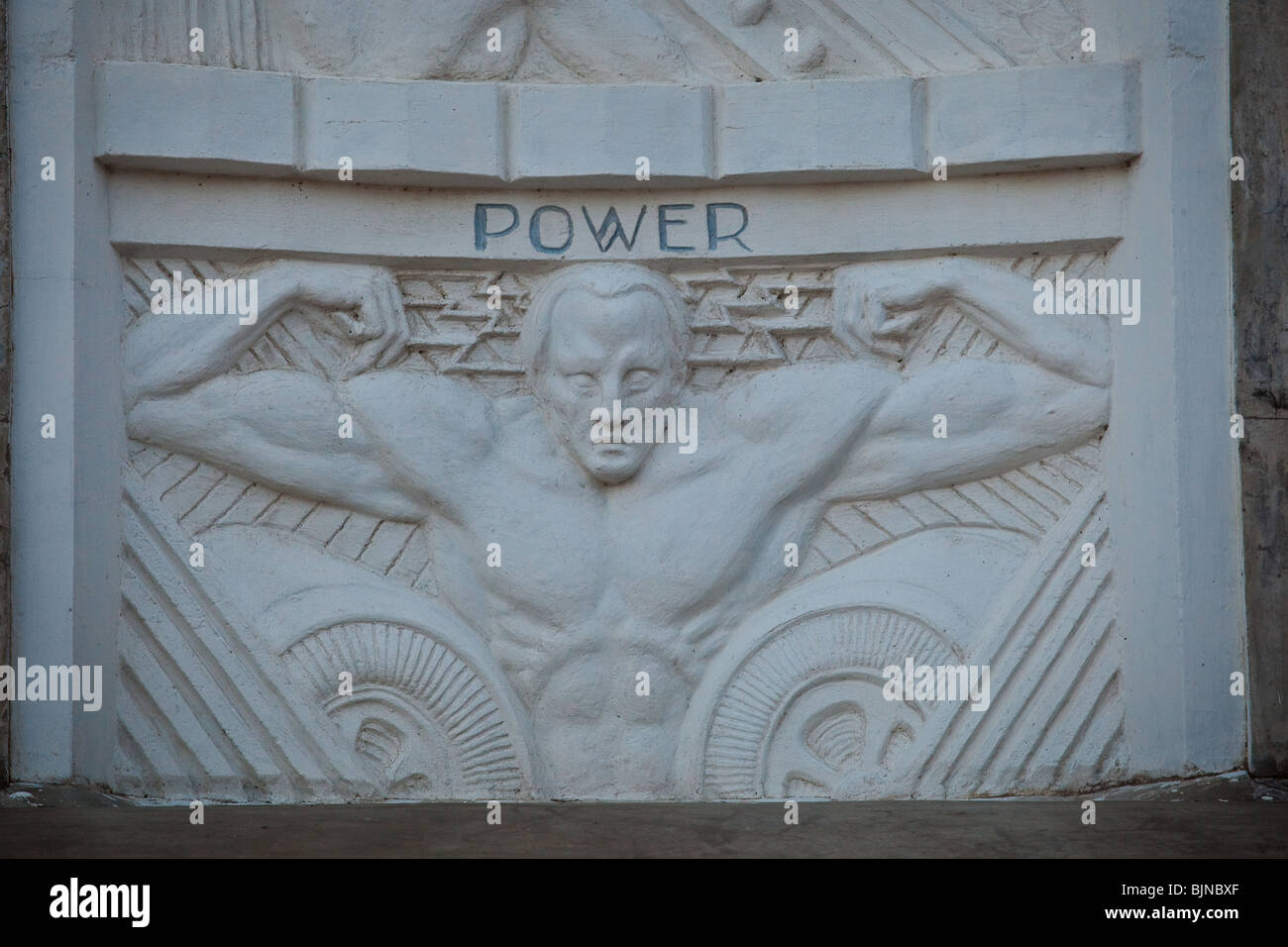 the bas relief in deco style celebrating benefits of the hoover stock photo royalty free