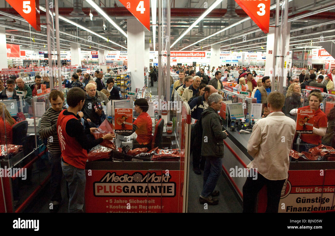 Opening of media markt in a new shopping centre berlin germany stock photo