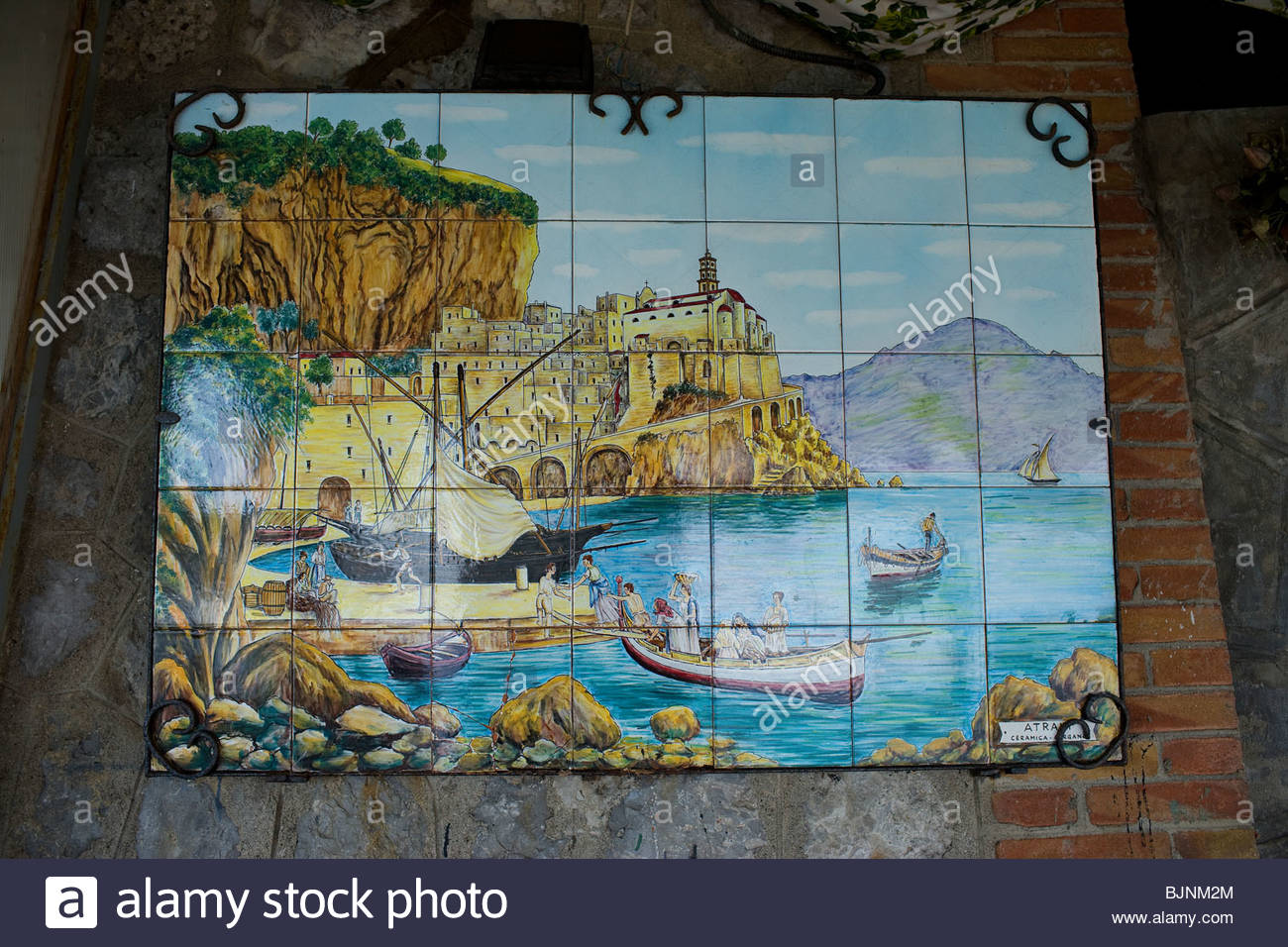 Ceramic tile mural of atrani village in atrani amalfi coast stock ceramic tile mural of atrani village in atrani amalfi coast province of salerno campania italy doublecrazyfo Images